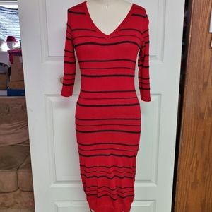Pink rose striped  body con sweater dress